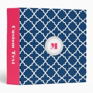 Monogram quatrefoil personalized binder - navy