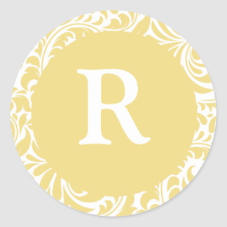 Monogram R Antique Gold Wedding Monograms Envelope Classic Round Sticker