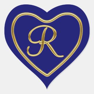 Monogram R in 3D gold Heart Sticker