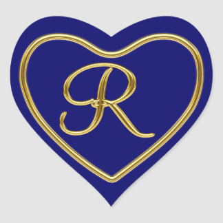 Monogram R in 3D gold Heart Stickers