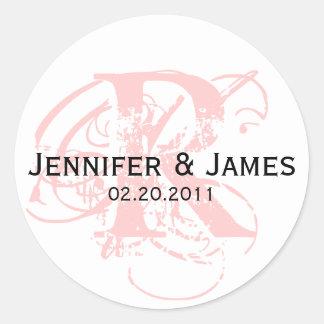 Monogram R Save the Date Wedding Sticker