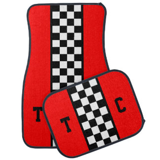 Monogram Race Car Checkered Pattern Red Set of 4 Car Mat