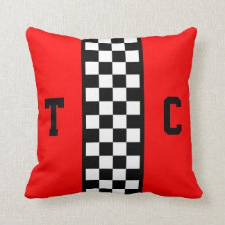 Monogram Race Car Checkered Pattern with Red Throw Pillow