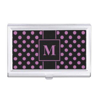 Monogram Radiant Orchid Polka Dot on Black Business Card Holder
