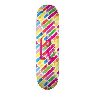 Monogram Rainbow Diagonal Lines Pattern Pop Art Skateboard