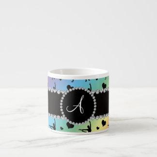 Monogram rainbow gymnastics hearts bows espresso mug