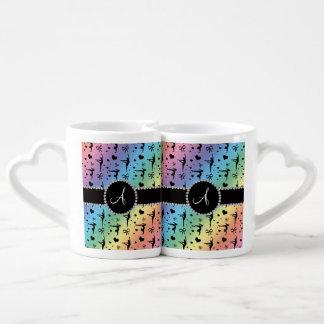 Monogram rainbow gymnastics hearts bows lovers mugs