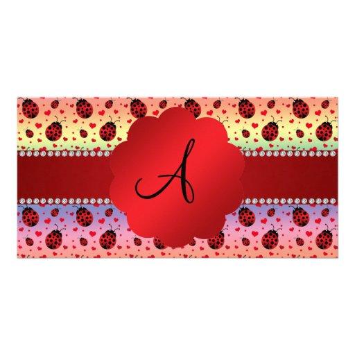 Monogram rainbow ladybugs hearts customized photo card