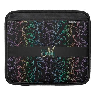 Monogram Rainbow Music Notes Black iPad Sleeve