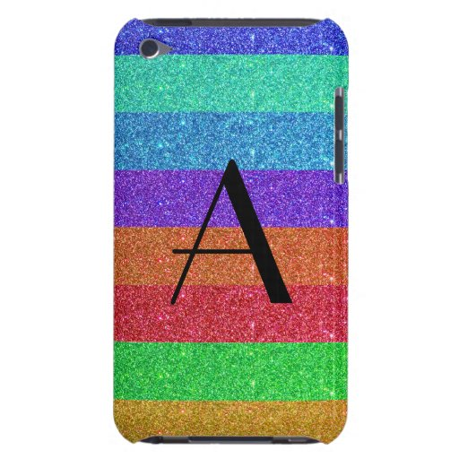 Monogram rainbow stripes glitter barely there iPod case