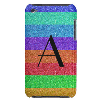 Monogram rainbow stripes glitter iPod touch case