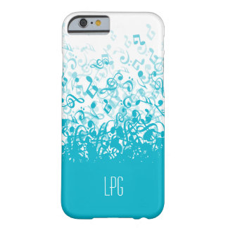 Monogram Raining Music Notes Aqua Barely There iPhone 6 Case
