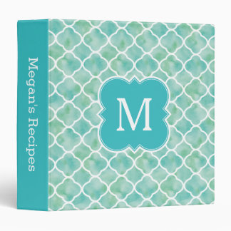 Monogram Recipe Aqua Green Quatrefoil Pattern Vinyl Binders