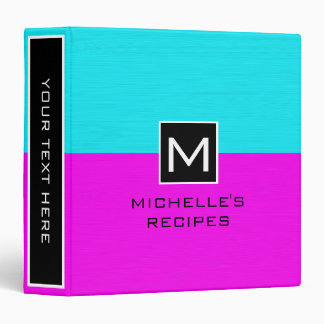 Monogram Recipe Modern Magenta Cyan Vinyl Binders