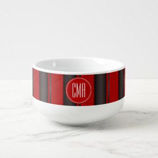 Monogram Red and Black Polka Dots Pattern Soup Mug