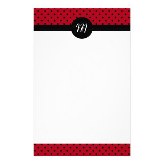Monogram Red and Black Polka Dots Stationery