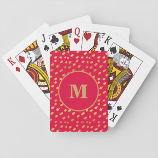 Monogram Red and Gold Confetti Playing Card