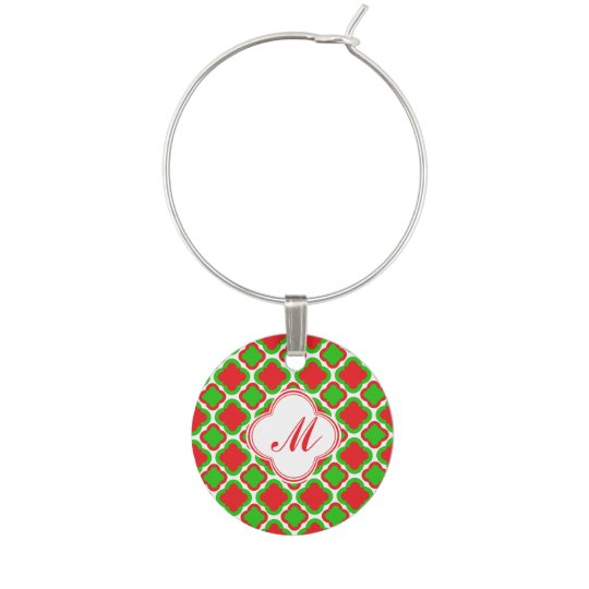 Monogram Red and Green Quatrefoil  Christmas Wine Glass Charms