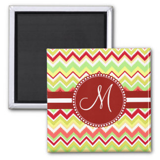 Monogram Red Aztec Andes Tribal Chevron Zig Zags Square Magnet