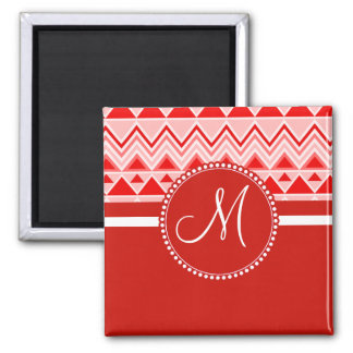 Monogram Red Aztec Andes Tribal Mountains Triangle Square Magnet