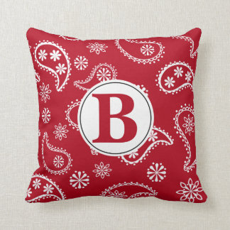 Monogram Red Bandana  Pillow