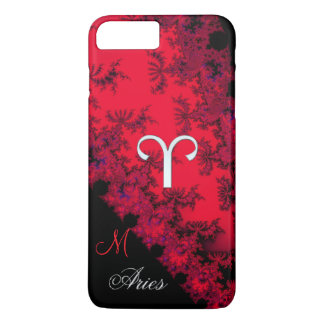 Monogram Red Black Zodiac Sign Aries iPhone Case