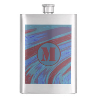 Monogram Red Blue Color Swish Flask