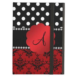 Monogram red damask black polka dots iPad air cover