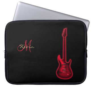 Monogram Red Electric Guitar Music Laptop Sleeve