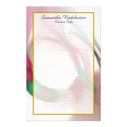 Monogram Red Feather Ring Lined Stationery