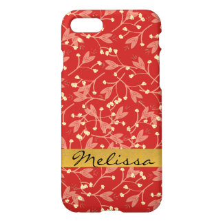 Monogram Red Floral Glossy iPhone Case