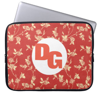 Monogram Red Floral Pattern Laptop Sleeve