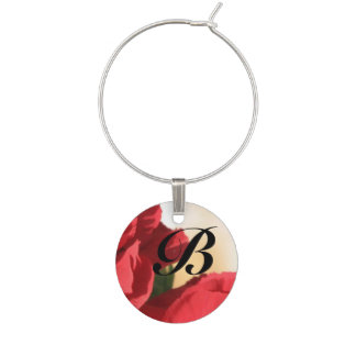 Monogram Red Floral Wine Charms