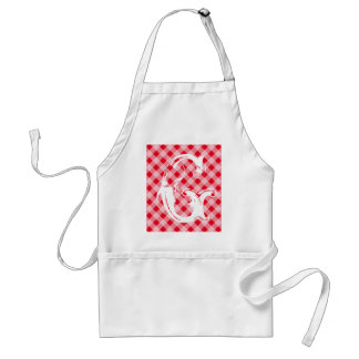Monogram red gingham aprons for men and women