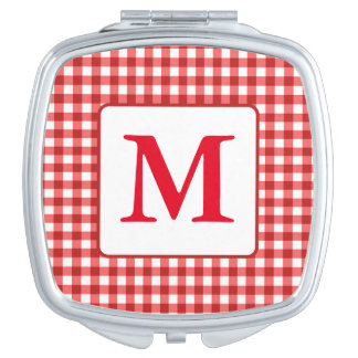 Monogram Red Gingham Checks Square Compact Mirror