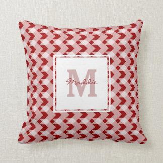 Monogram, red gingham chevron, personalize w name throw pillow
