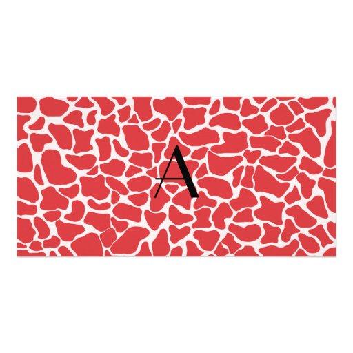 Monogram red giraffe print photo card