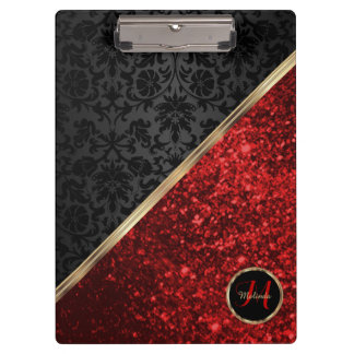 Monogram Red Glitter and Black Damask Clipboard