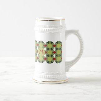 Monogram red green grey pattern Personalise-It Mug