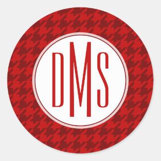 Monogram | Red Houndstooth Classic Round Sticker