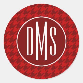 Monogram   Red Houndstooth Classic Round Sticker
