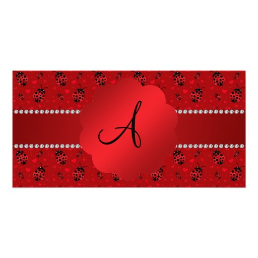 Monogram red ladybugs pattern customized photo card