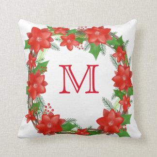 Monogram Red Poinsettia Wreath Christmas Holiday Throw Pillow