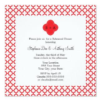 Monogram Red Quatrefoil Pattern Rehearsal Dinner Card