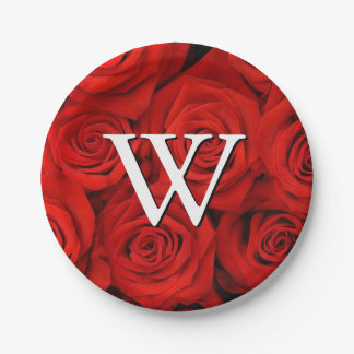 Monogram Red Roses Floral Pattern Paper Plate