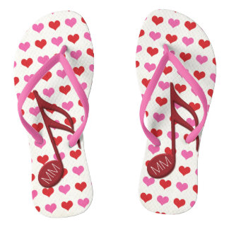 Monogram Red Semi Quaver Love Hearts Music Flip Flops
