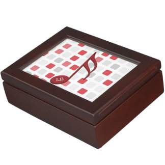 Monogram Red Semi Quaver Red Gray Mosaic Keepsake Box