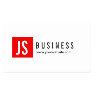 Monogram Red Square Professor Business Card