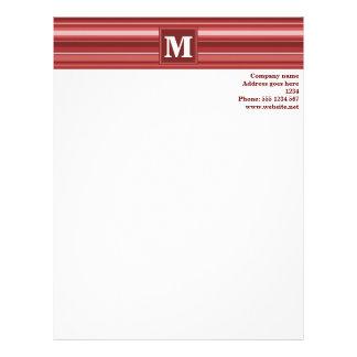 Monogram red stripes customized letterhead