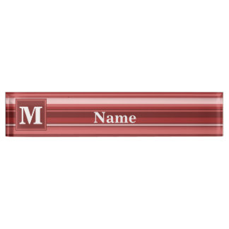 Monogram red stripes desk name plates